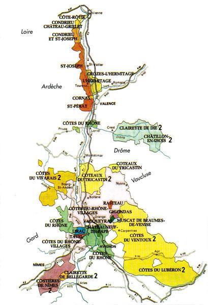 La carte géographique des vins de la vallée du Rhône
