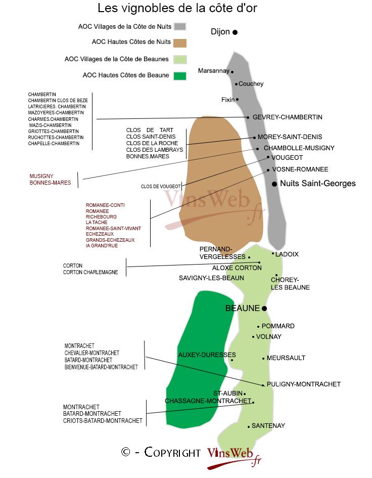 Carte Bourgogne Viticole.Vins Et Vignobles De La Cote D Or