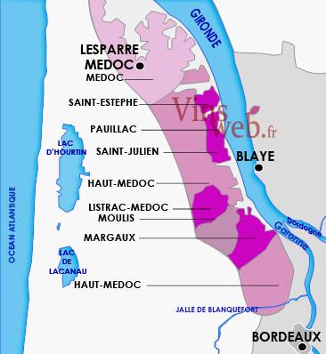 Carte Bordeaux Margaux.Vignoble Du Medoc Appellations Vins Du Medoc
