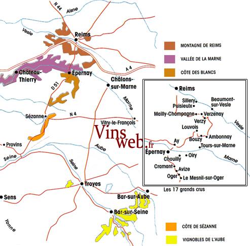 la carte géographique vignoble champagne
