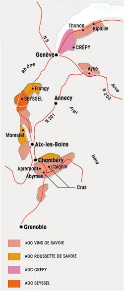 La carte géographique des vins de Savoie