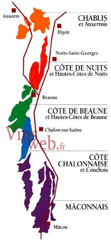 Carte Bourgogne Viticole.Vignoble De La Bourgogne Guide Region Bourgogne