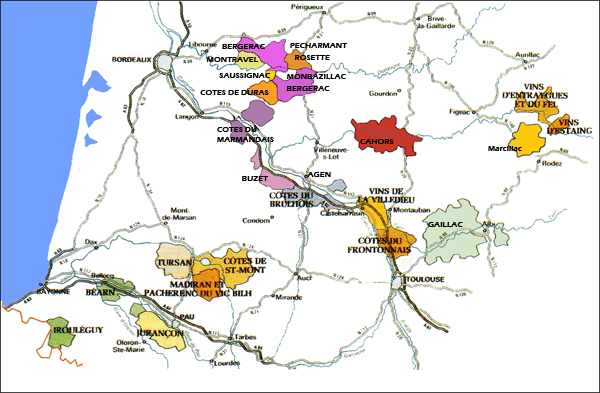 La carte géographique des vins du sud-ouest