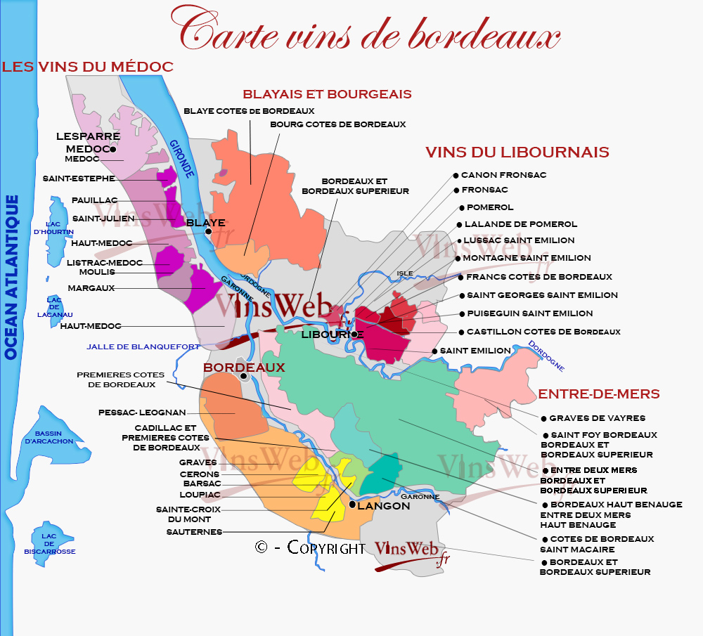 Carte Bordeaux Appellations.Vignoble De Bordeaux Les Appellations Vins De Bordeaux