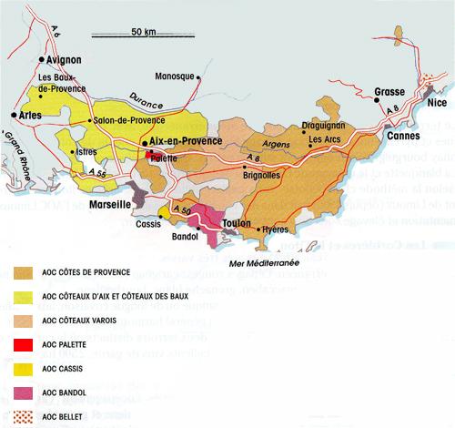 La carte géographique des vins de la Provence
